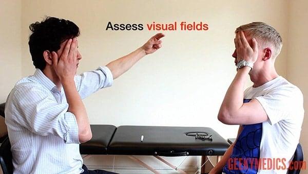 การตรวจลานสายตาด้วยวิธีหันหน้าเข้าหากัน